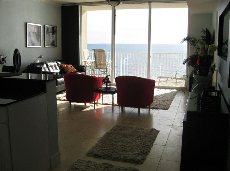 Custom decorated ocean front living room