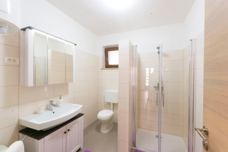 Large bathroom with spacious shower