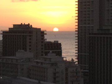 Sunset from lanai (balcony).  Watch Friday Night Fireworks from lanai!