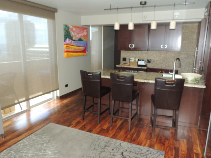 Kitchen area with large island and upscale appliances.