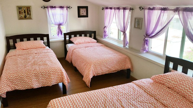 Women's dormitory sleeps three people.