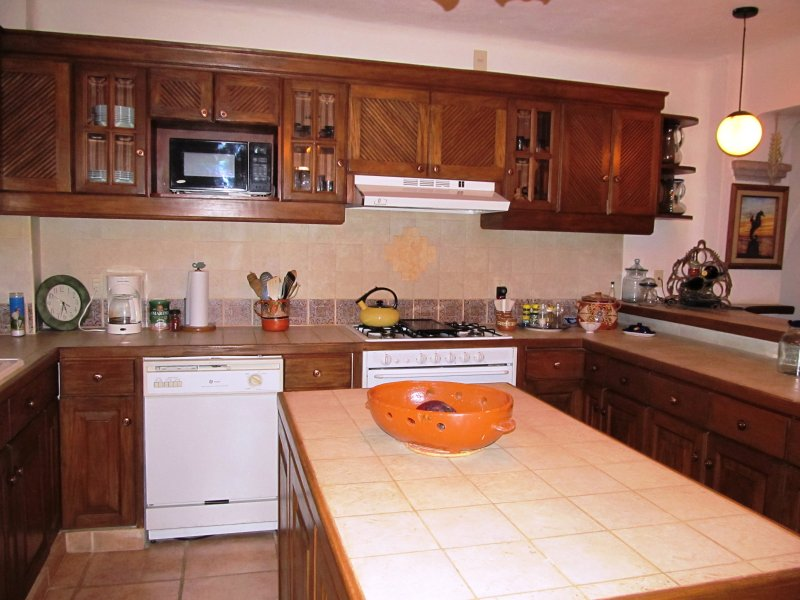 Fully functional kitchen with stove, oven, microwave and dishwasher.