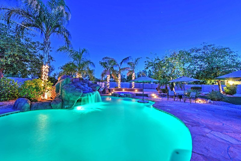 The stunning outdoor pool area is perfect for a leisurely evening swim.