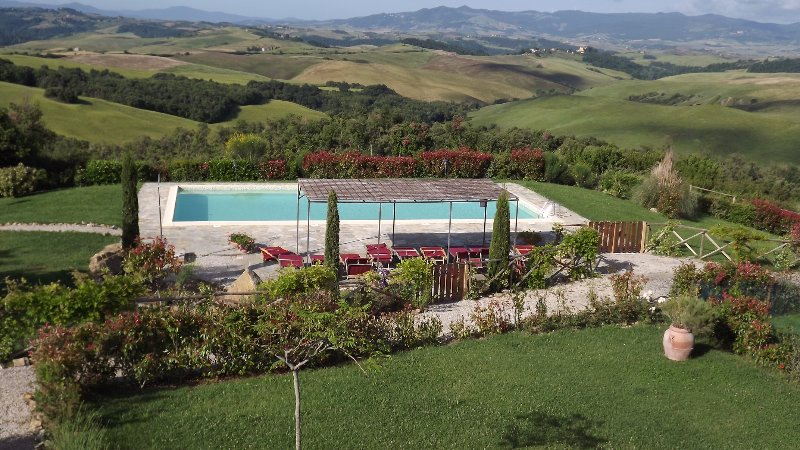 The magnificent pool area with open views of the countryside