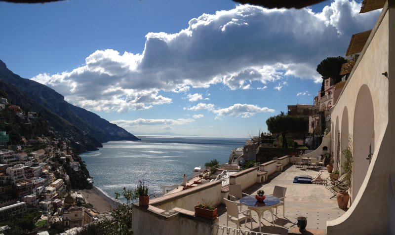One of the most beautiful terraces in Positano with a breathtaking view over town, beach and gulf