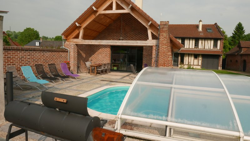 the terrace and removable pool shelter