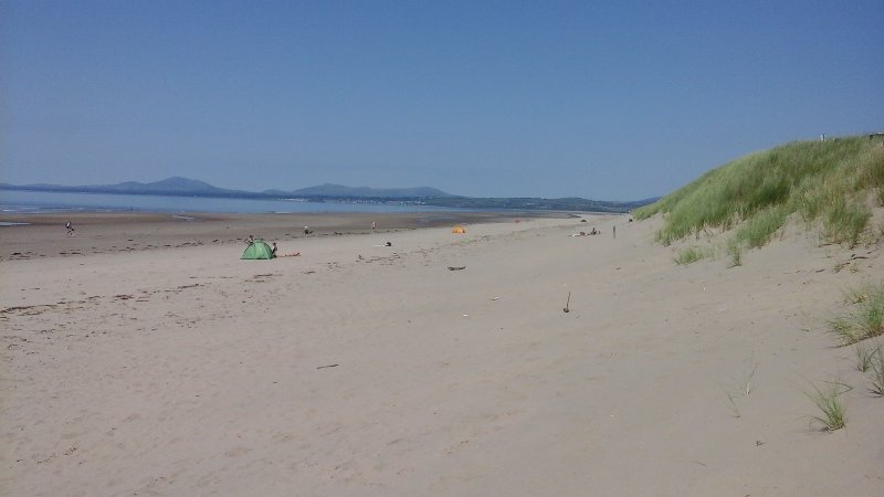 Harlech beach to the north in July.