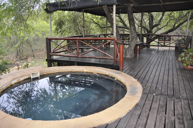 Splash pool and elevated deck overlooking wildlife watering hole