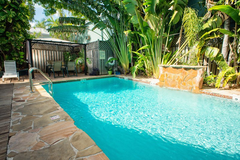Large 30 by 15 foot heated pool. Don't forget your drink umbrellas