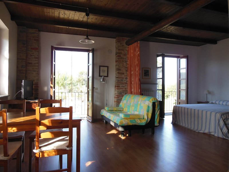 Studio with panoramic views of the Langhe
