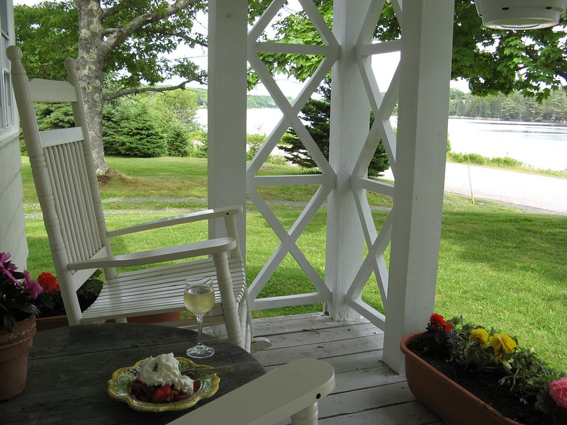 Enjoy a sip and snack with a view of the ocean inlet.