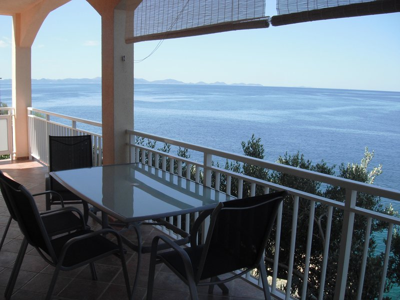 Balcony, sea view and view of island Lastovo
