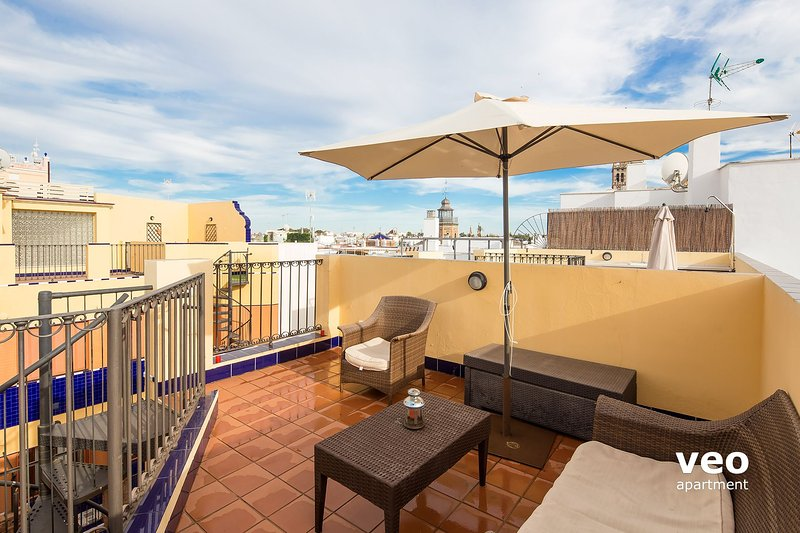 Private terrace. With lounge sofas, table, parasol and 2 deck-chairs.