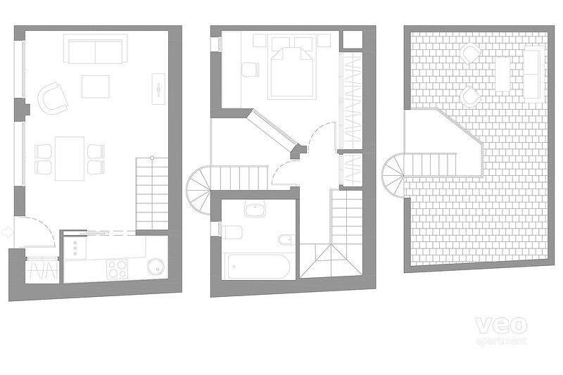 60m² + terrace | second/third/fourth floor | elevator