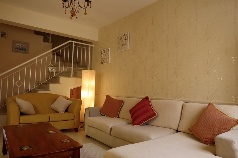 very comfortable lounge, TV, international channels, DVD, books & movies, air con and seating for 8