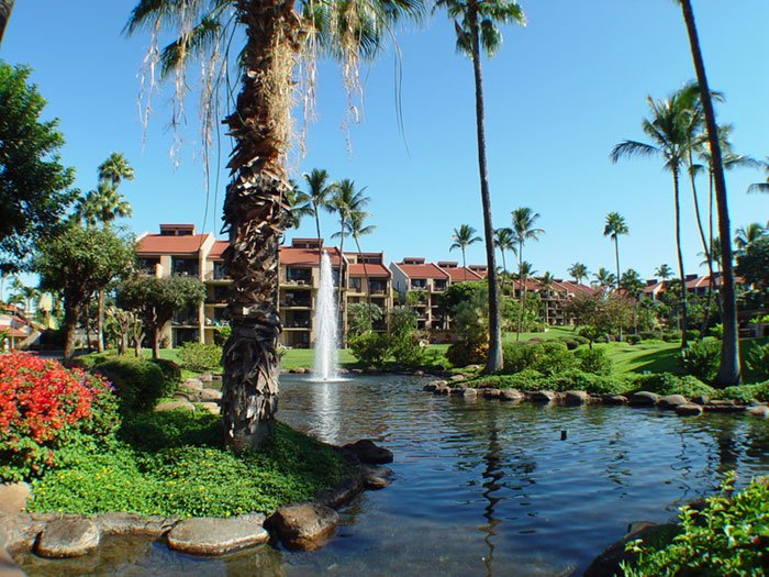 Entrance to our resort with ponds and fountains