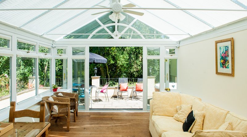 Acorns conservatory looking out on to private patio with Hot Tub