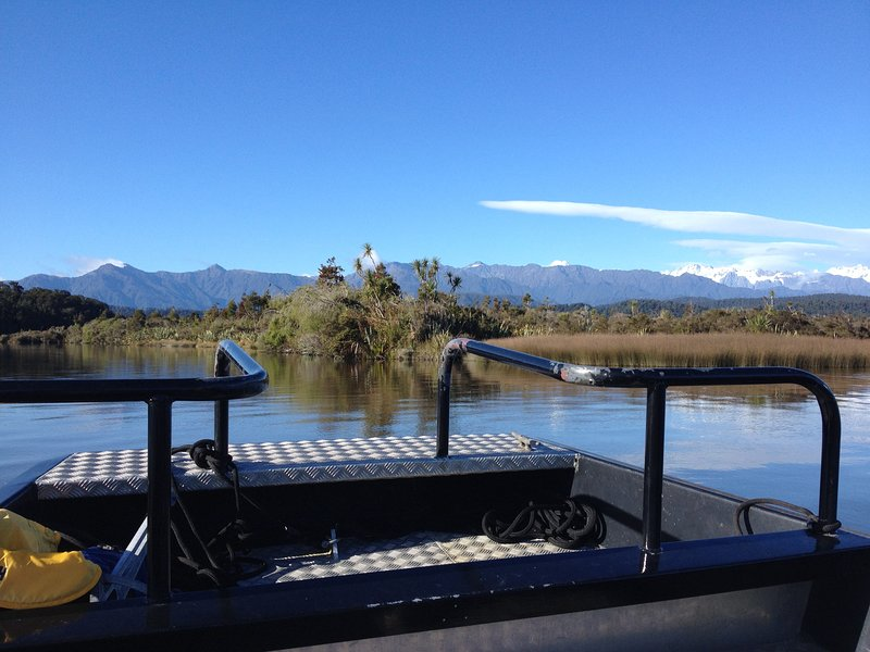 Boat tours available on the lagoon, opertator in Okarito.