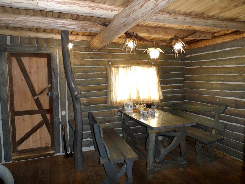 Russian banya's restroom with tea and honey