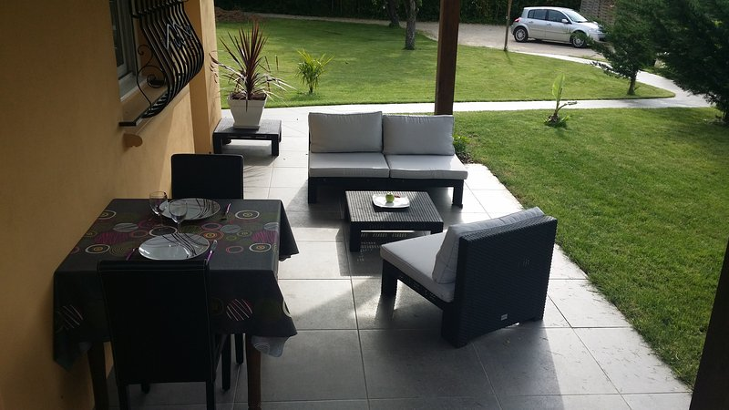 terrace with garden lounge  - outdoor eating area