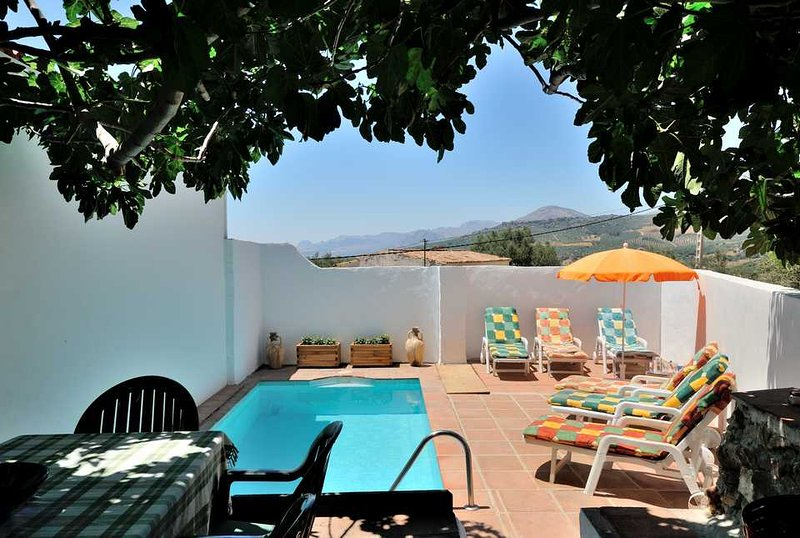 Charming traditional country house, great views, 4 bedrooms, private pool, BBQ, Ferienwohnung in Alcaucin
