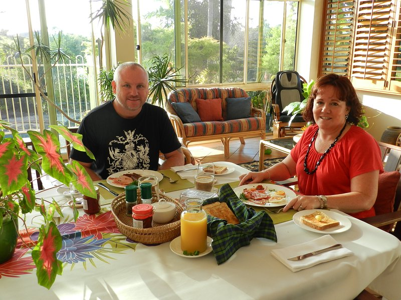 These guests are enjoying their delicious hot breakfast.
