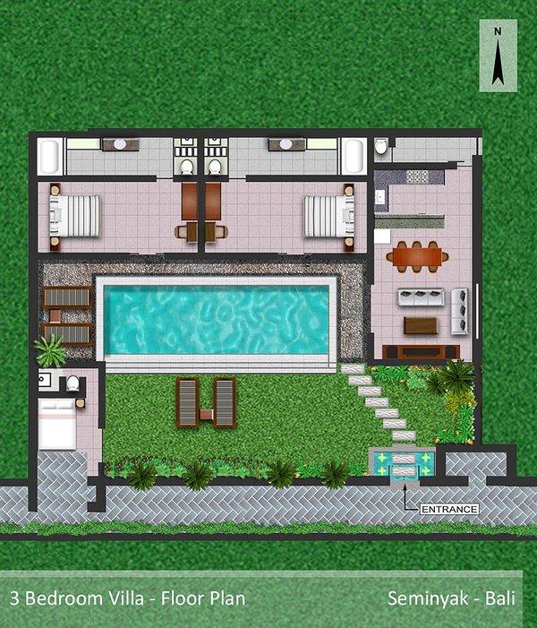 3 Bedroom Pool Villa - Floor plan