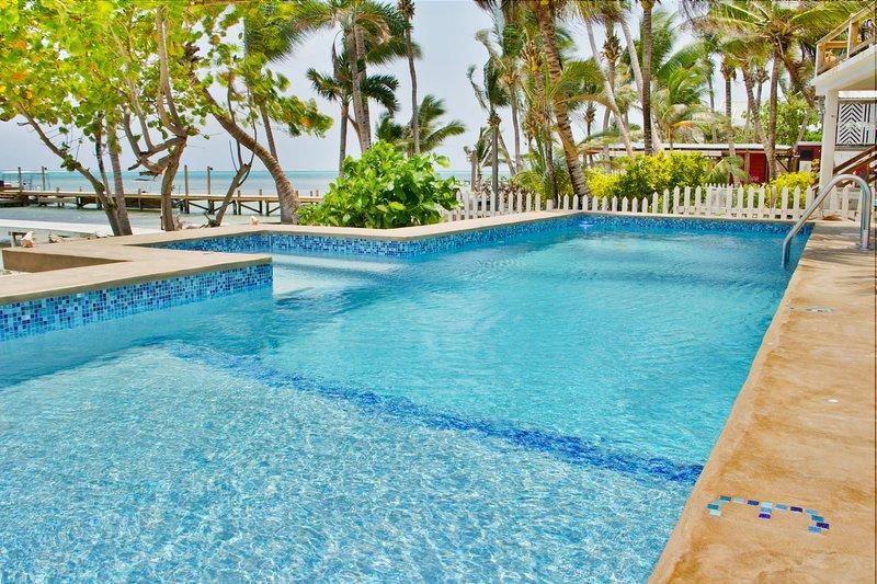 piscina de agua dulce tiene 3 secciones 'y 6', así como una zona de spa con chorros de agua y aire.