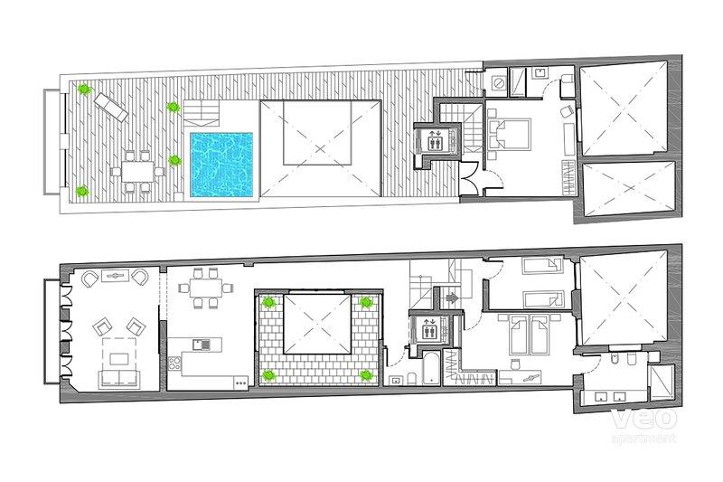 145m² + terrace | second, third floors | elevator