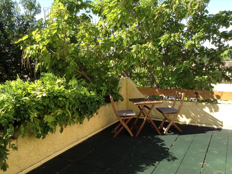 Upstairs terrace for private breakfast or sunset drinks, accessed from hallway or bedroom.