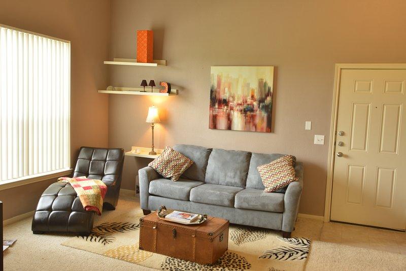 sala de estar com sofá-cama