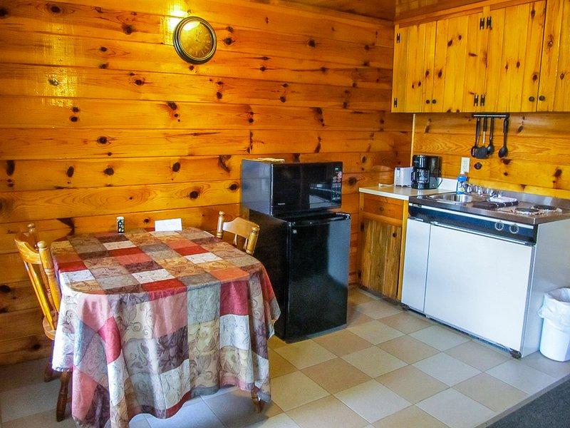 zona de cocina con un pequeño refrigerador / microondas, estufa y fregadero.