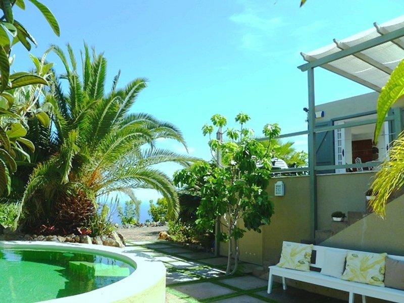 Pool, Terrasse, tropischer Garten mit fruital Bäumen und ... den Atlantischen Ozean!