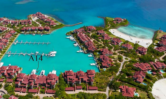 aerial view of the apartment and closest private beach