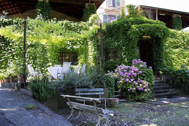El patio para el desayuno