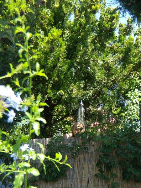 Ducha en el jardín con vistas al paisaje de la Toscana