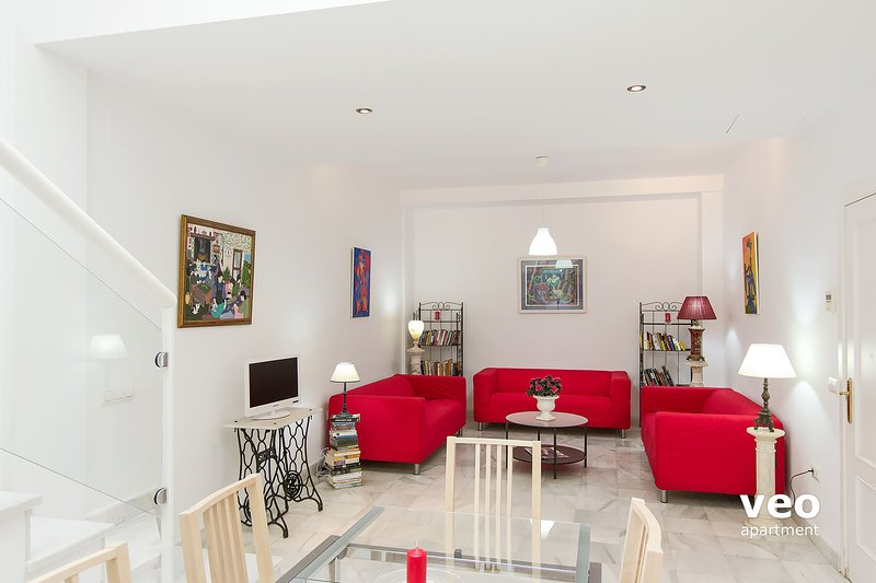 Spacious living area with 3 sofas, central table, TV and DVD player.