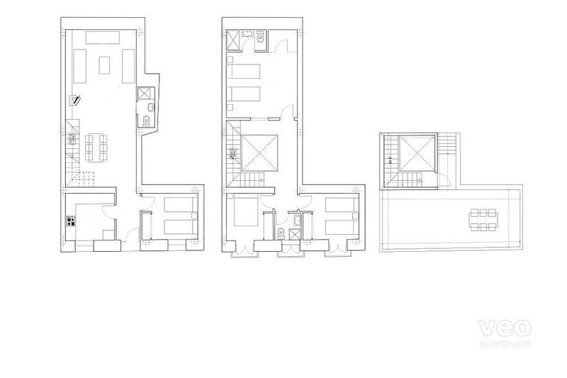 120m² + terrace | ground/first/second floor | no elevator