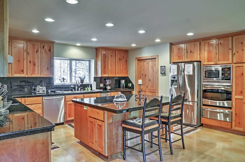 Prepare family favorites in the fully equipped kitchen.