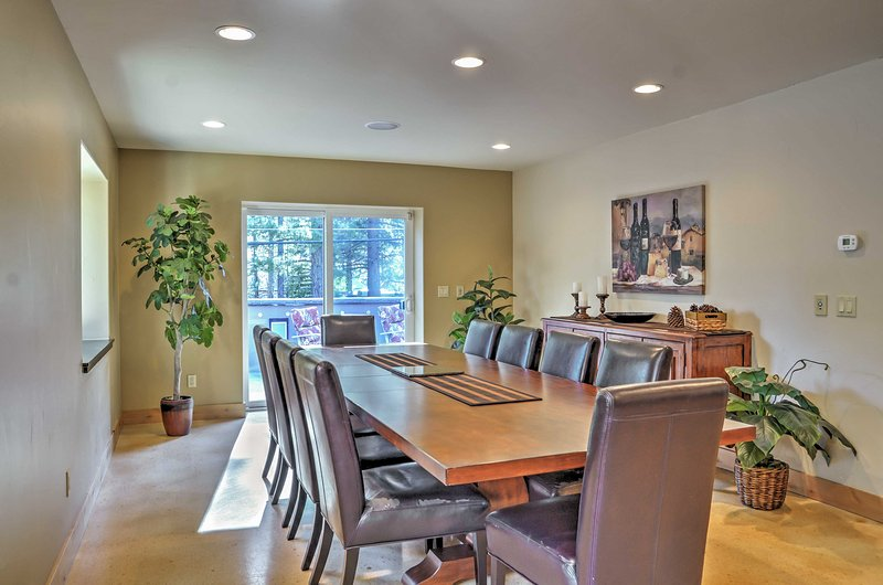The sizable dining table is perfect for formal family meals!