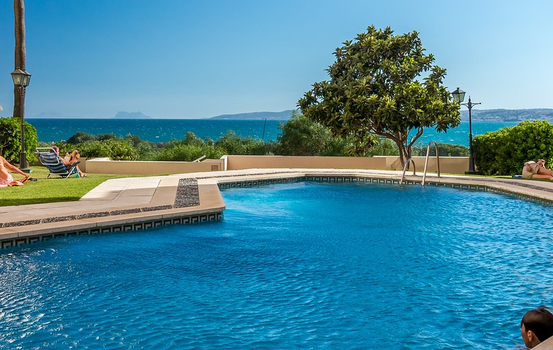 One of the two lovely pools with views of the coast, Gibraltar & North Africa