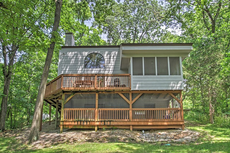 Look forward to peace and serenity at this secluded Galena vacation rental house