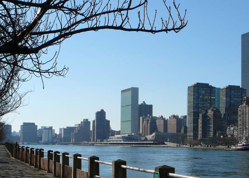 View of the UN from nearby Roosevelt Island.