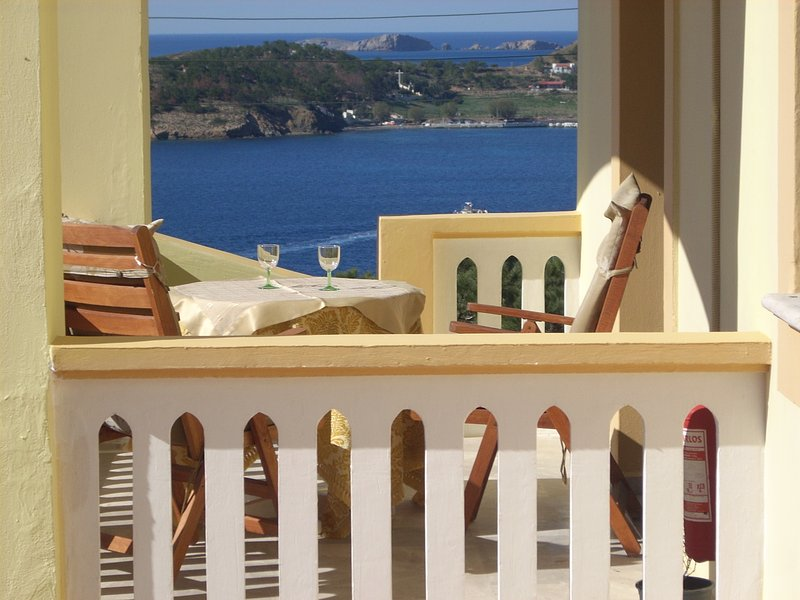 Private balcony overlooking at Masouri bay and whole the island of Telendis from north side