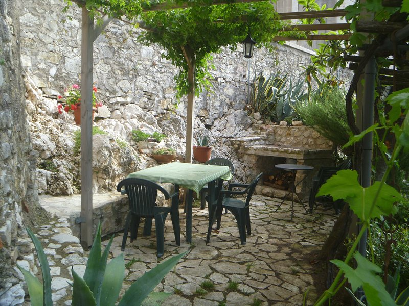 Garden with stone barbecue