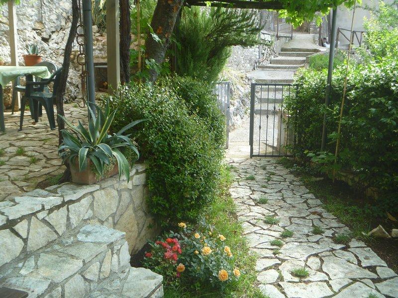 Entrance with garden