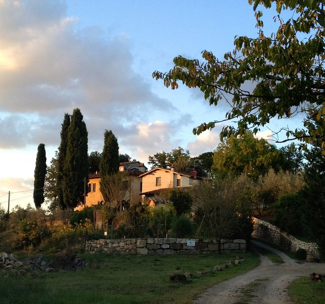 The Poggiolotuscany at sunset. Barn on right, Farmhouse on left.