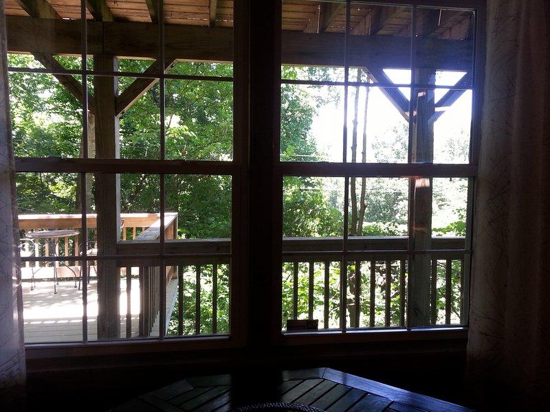 Vista para a montanha a partir da janela da sala de estar