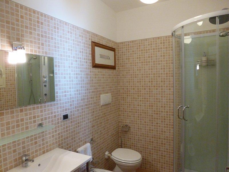 Fully tiled bathroom with jet shower