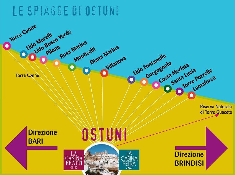vele stranden en niet aan de kust van Ostuni, 6 km van de stad